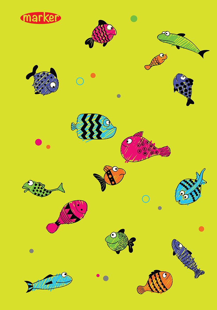 Marker Тетрадь Рыбы 100 листов в клетку72523WDТетрадь на спирали Marker Рыбы отлично подойдет для различных записей. Дизайнерская обложка выполнена из высококачественного картона. Внутренний блок состоит из 100 листов в клетку.