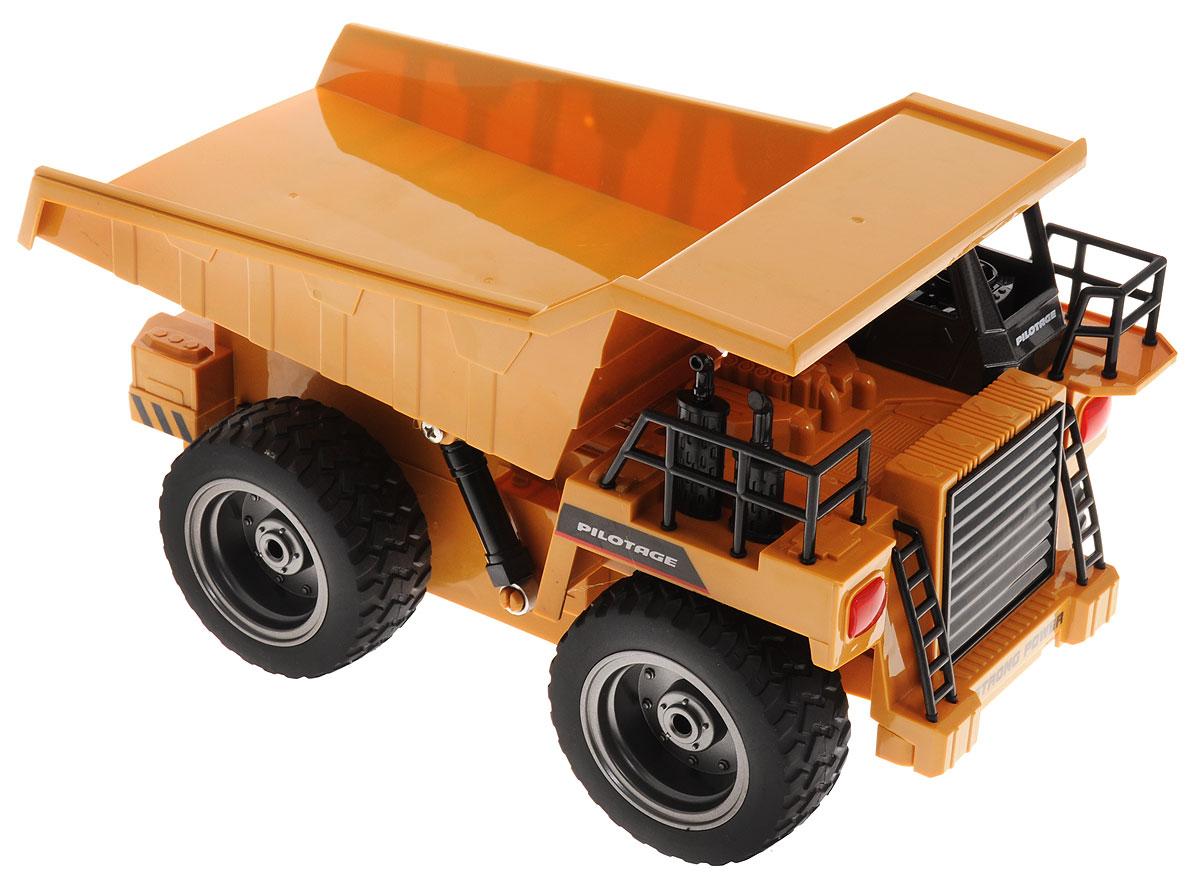 """Грузовик на радиоуправлении """"Pilotage"""" представляет собой уменьшенную копию настоящего грузовика. Чтобы машина начала двигаться, необходимо активировать ее работу нажатием на кнопку на пульте. Модель оснащена объемным кузовом При движении грузовика загорается светодиодная подвеска и слышен реалистичный звук работающей техники. Грузовик может двигаться во всех направлениях. Понятное управление грузовиком и его реалистичный внешний вид, сделают его любимой игрушкой, как для вашего ребенка, так и для вас. Простое нажатие кнопки моментально изменяет направление и скорость движения. Удаленное управление всеми функциями, а так же мощность и надежность конструкции и электроники, позволят использовать данную модель как дома, так и на улице, что дает возможность вам и вашему ребенку почувствовать себя настоящим водителем строительной техники. Радиоуправляемые игрушки развивают моторику ребенка, его логику, координацию движений и пространственное мышление. ..."""