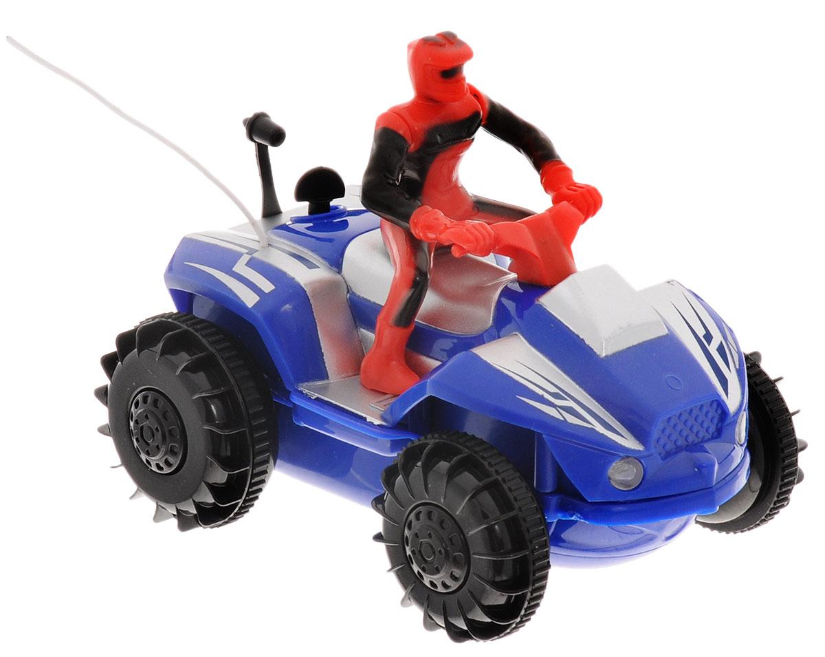 """Квадроцикл на радиоуправлении """"Pilotage"""" представляет собой яркий квадроцикл с 3-канальным пультом радиоуправления. За рулем транспортного средства расположился гонщик в защитном костюме и в шлеме. Чтобы квадроцикл начал двигаться, необходимо активировать его работу нажатием на кнопку на пульте. Влагозащищенная модель оснащена специальными колесами с гребными лопастями, что позволяет с легкостью ездить (плавать) даже по воде! Нажатие специальной кнопки на пульте увеличивает скорость движения почти в два раза! Понятное управление квадроциклом и его реалистичный внешний вид сделают его любимой игрушкой для вашего ребенка. Простое нажатие кнопки моментально изменяет направление и скорость движения. Благодаря оптимальным размерам и внедорожным шинам, данный квадроцикл можно использовать как дома, так и на улице. Возможные движения игрушки: вперед-назад, влево-вправо, стоп. Радиоуправляемые игрушки развивают моторику ребенка, его логику, координацию движений и..."""