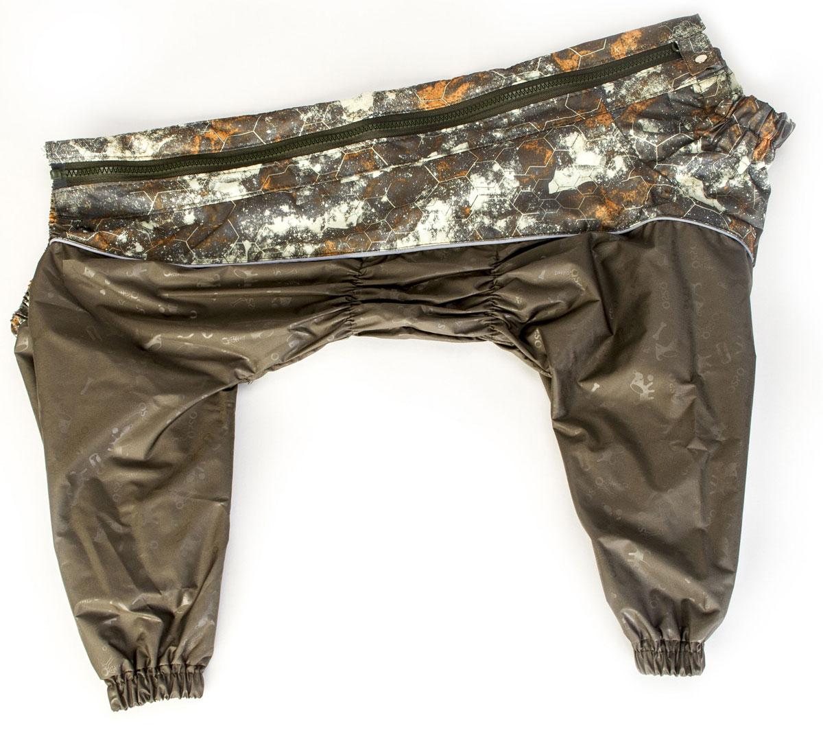 Комбинезон для собак OSSO Fashion, для мальчика, цвет: хаки. Размер 55К-1022-хаки-вставкаКомбинезон для собак OSSO Fashion изготовлен из водоотталкивающей и ветрозащитной ткани (100% полиэстер). Предназначен для прогулок в межсезонье, в сырую погоду для защиты собаки от грязи и воды. В комбинезоне используется отделка со светоотражающим кантом и тракторная молния со светоотражающей полосой. Комбинезон для собак эргономичен, удобен, не сковывает движений собаки при беге, во время игры и при дрессировке. Комфортная посадка по корпусу достигается за счет резинок-утяжек под грудью и животом. На воротнике имеется кнопка для фиксации. От попадания воды и грязи внутрь комбинезона низ штанин также собран на резинку.Длина спинки: 55 см.Объем груди: 64-80 см.
