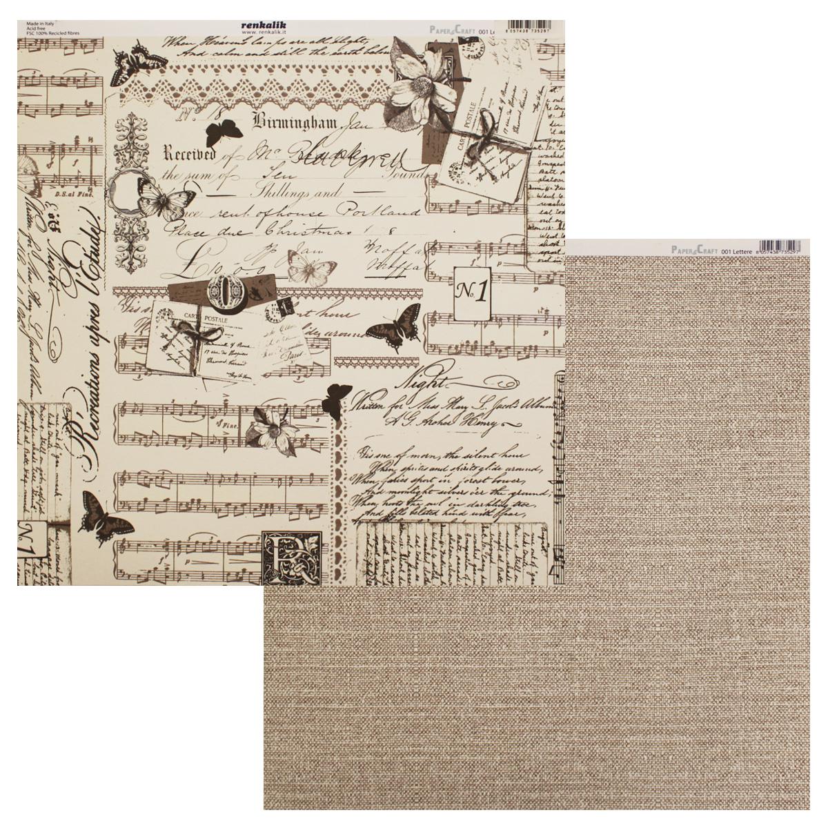 Бумага для скрапбукинга Renkalik Письма. Лен, двухсторонняя, 30,5 х 30,5 смNLED-454-9W-BKБумага Renkalik, оформленная красочными изображениями, поможет вам начать творческий путь в скрапбукинге. Эта бумага хорошо подойдет для оформления фона, создания открыток, поделок и многого другого. Скрапбукинг - это хобби, которое способно приносить массу приятных эмоций не только человеку, который этим занимается, но и его близким, друзьям, родным. Это невероятно увлекательное занятие, которое поможет вам сохранить наиболее памятные и яркие моменты вашей жизни, а также интересно оформить интерьер дома.
