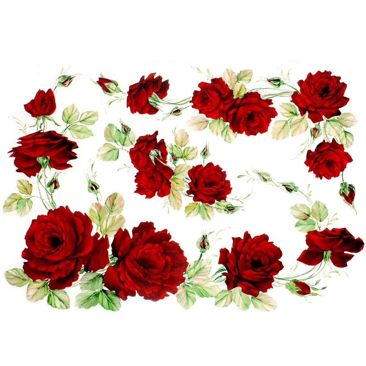 Рисовая бумага для декупажа Renkalik Красные розы, 35 х 50 смNLED-454-9W-BKБумага для декупажа Renkalik предназначена для декорирования предметов. Имеет в составе прожилки риса, которые очень красиво смотрятся на декорируемом изделии, придают ему неповторимую фактуру и создают эффект нанесенного кистью рисунка. Подходит для декора в технике декупаж на стекле, дереве, пластике, металле и любых других поверхностях. Плотность бумаги: 25 г/м2.