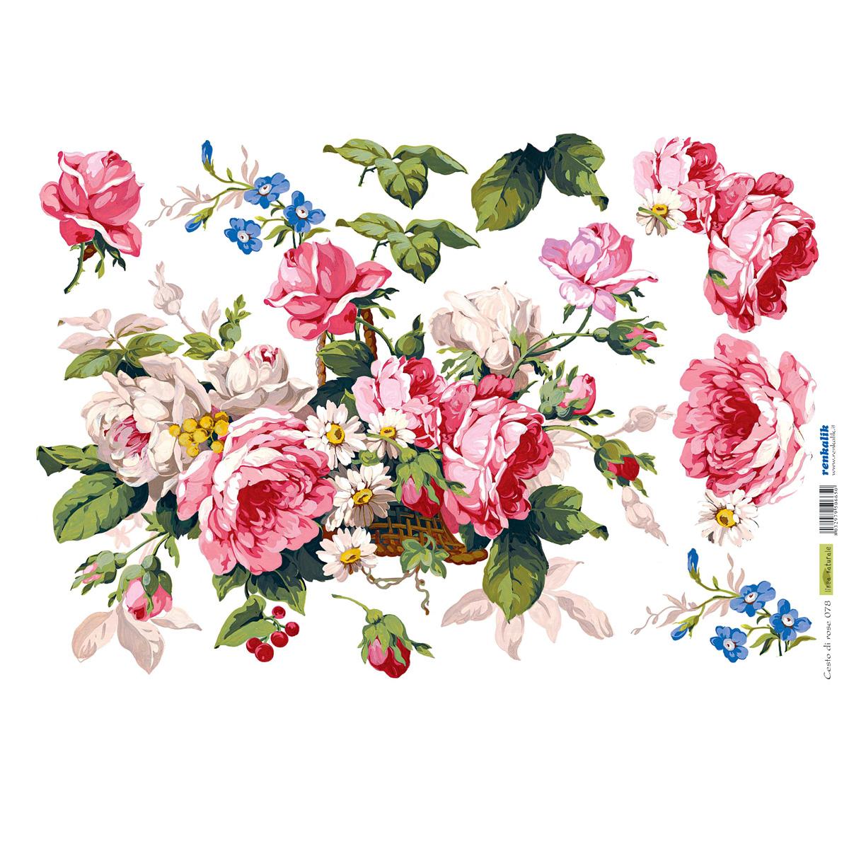 Рисовая бумага для декупажа Renkalik Корзина с розами, 35 х 50 см97775318Бумага для декупажа Renkalik предназначена для декорирования предметов. Имеет в составе прожилки риса, которые очень красиво смотрятся на декорируемом изделии, придают ему неповторимую фактуру и создают эффект нанесенного кистью рисунка. Подходит для декора в технике декупаж на стекле, дереве, пластике, металле и любых других поверхностях. Плотность бумаги: 25 г/м2.