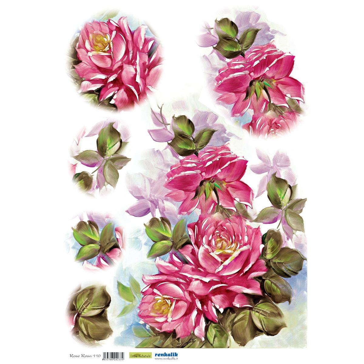 Рисовая бумага для декупажа Renkalik Розовые розы, 35 х 50 смRSP-202SБумага для декупажа Renkalik предназначена для декорирования предметов. Имеет в составе прожилки риса, которые очень красиво смотрятся на декорируемом изделии, придают ему неповторимую фактуру и создают эффект нанесенного кистью рисунка. Подходит для декора в технике декупаж на стекле, дереве, пластике, металле и любых других поверхностях. Плотность бумаги: 25 г/м2.