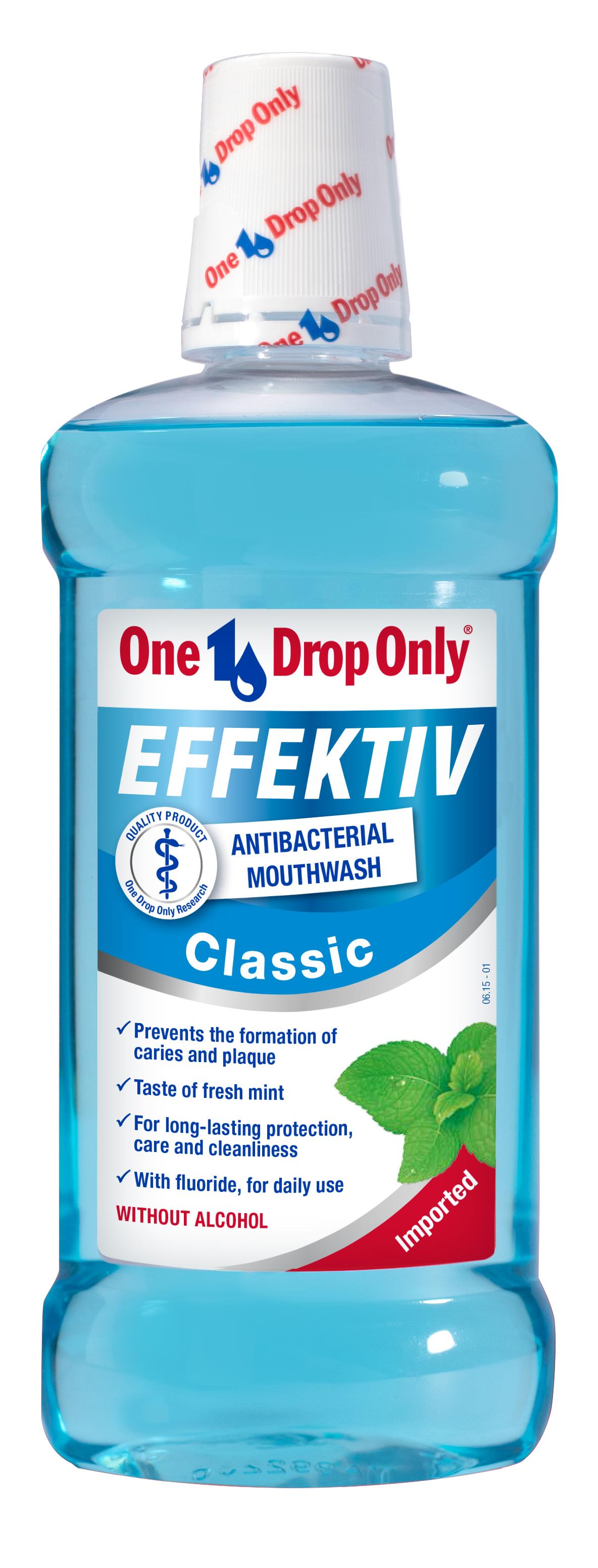 One Drop Only Effektiv Classic Антибактериальный ополаскиватель полости рта, 500 млJ01555Классический антибактериальный ополаскиватель полости рта