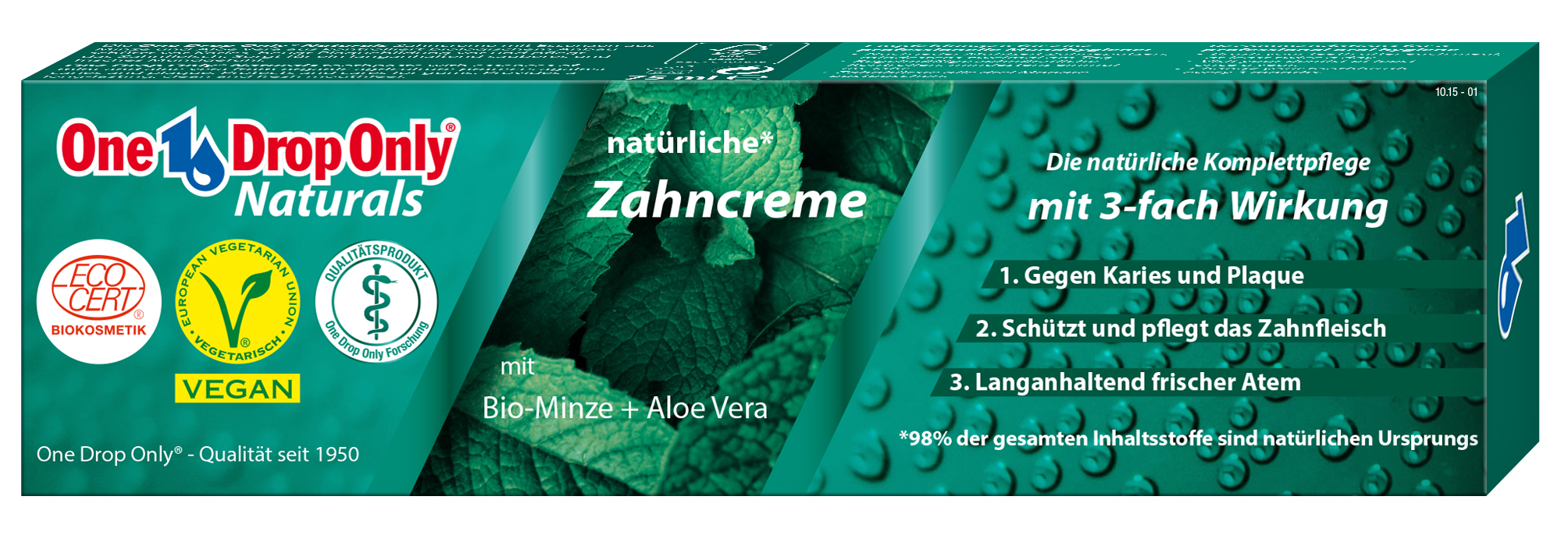 One Drop Only Effektiv Зубная паста Naturals с био-мятой + алоэ вера, 98% натурального сырья 75mlV-11825Зубная паста Naturals с био-мятой + алоэ вера, 98% натурального сырья
