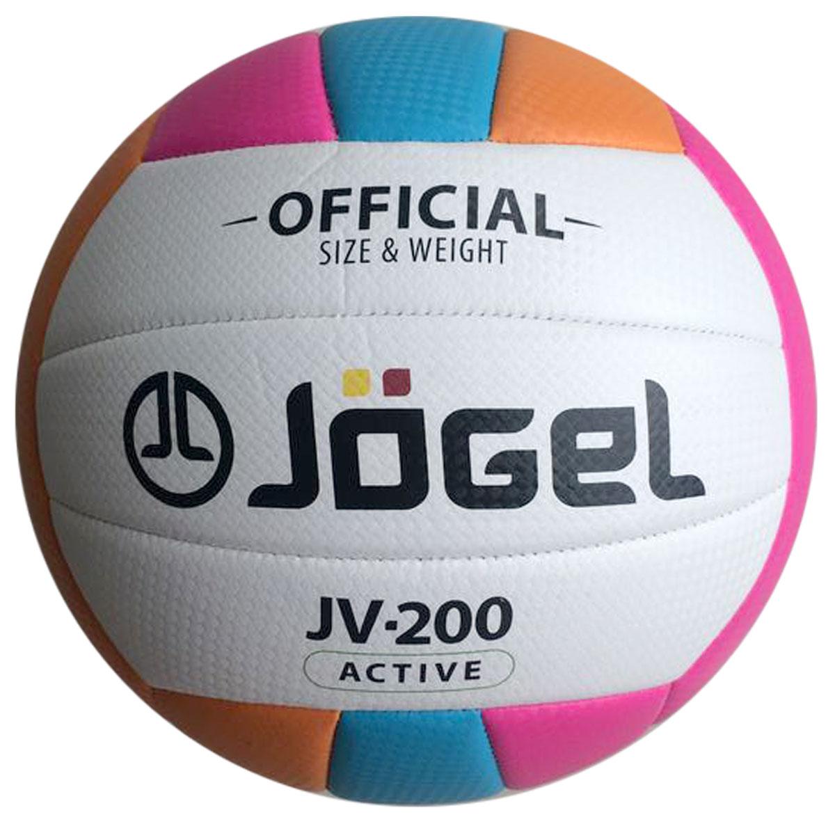 Мяч волейбольный Jogel, цвет: голубой, оранжевый, розовый. Размер 5. JV-200 паркет цвет голубой
