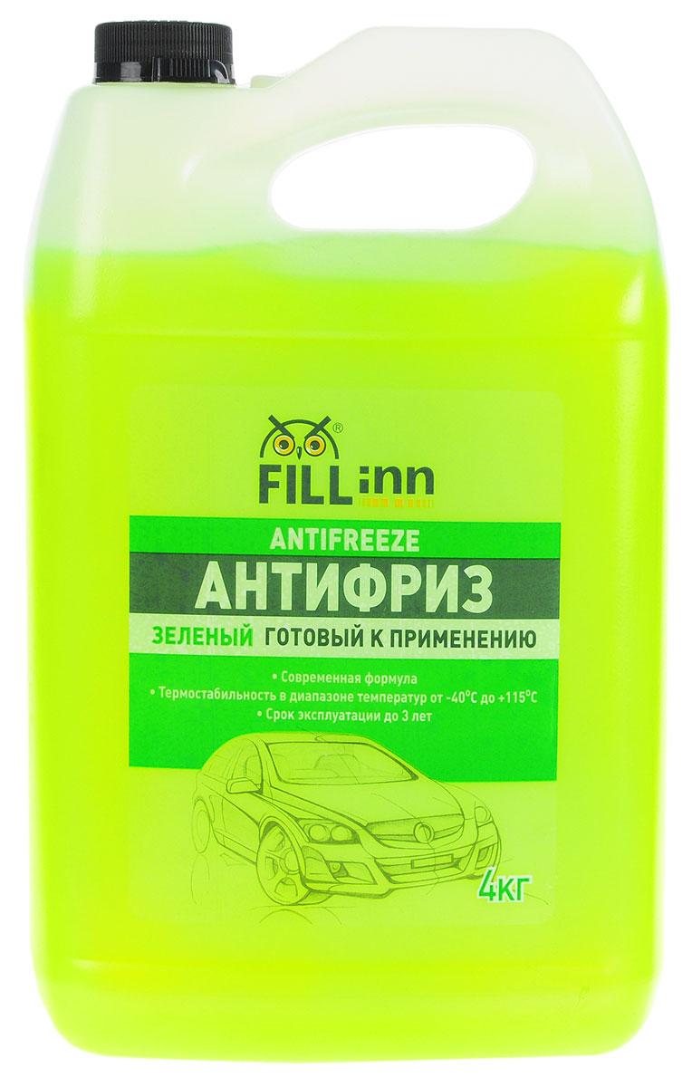 Антифриз Fill Inn, готовый, цвет: зеленый, 4 кгG013A8JM1Охлаждающая низкозамерзающая жидкость нового поколения, произведена на основе высокоочищенного моноэтиленгликоля и современного пакета присадок, которые:- предохраняют двигатель от размораживания и перегрева;- предотвращают коррозию стальных, чугунных, медных, латунных и алюминиевых поверхностей;- не оказывают вредного воздействия на резину, пластмассу и лакокрасочные покрытия;- препятствуют отложению накипи на внутренних поверхностях системы охлаждения, что особенно важно для поддержания оптимального теплового режима, обеспечения нормальной работы термостата и водяного насоса;- обеспечивают надежную смазку подвижных деталей водяного насоса;-препятствуют пенообразованию.Антифриз обладает термостабильностью в диапазоне от -400С до +1150С. Смешивается со всеми охлаждающими жидкостями на основе моноэтиленгликоля (кроме антифриза, изготовленного по карбоксилатной технологии).Антифриз безопасен для стальных, чугунных, алюминиевых, медных, пластмассовых, резиновых деталей и лакокрасочных покрытий.Состав: этиленгликоль, функциональные присадки, дистиллированная вода, краситель.