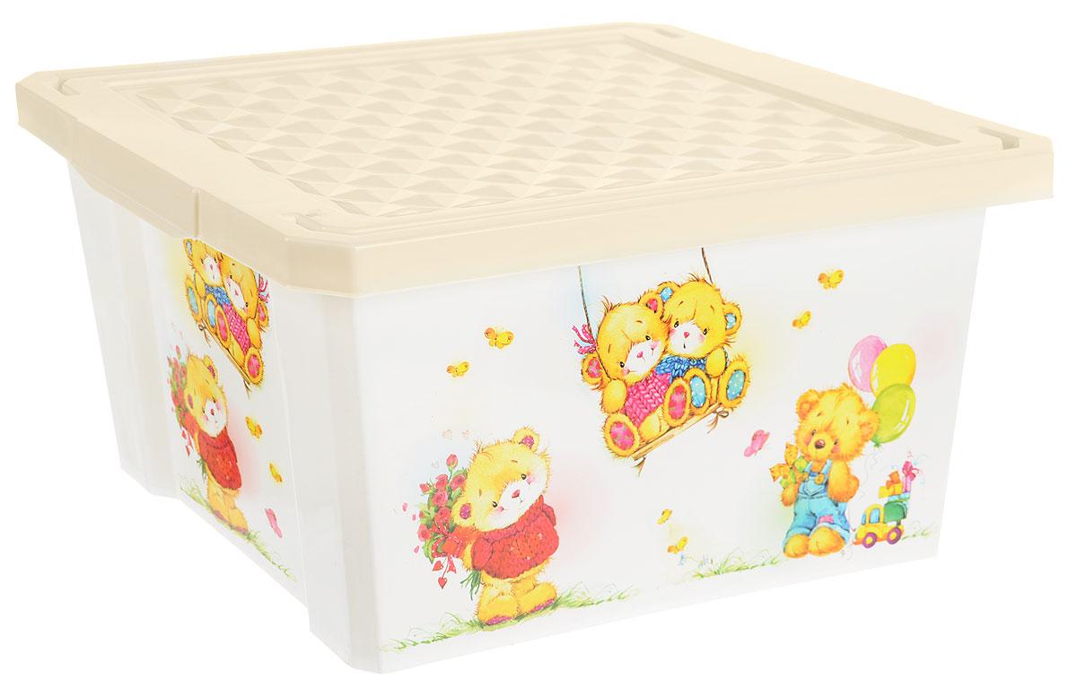 Little Angel Детский ящик для хранения игрушек X-BOX Bears 17 л цвет слоновая кость белый