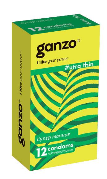 Ganzo Презервативы Ultra thin, 12 шт11030Ультратонкие презервативы из натурального латекса с накопителем и силиконовой смазкой для более естественных ощущений.