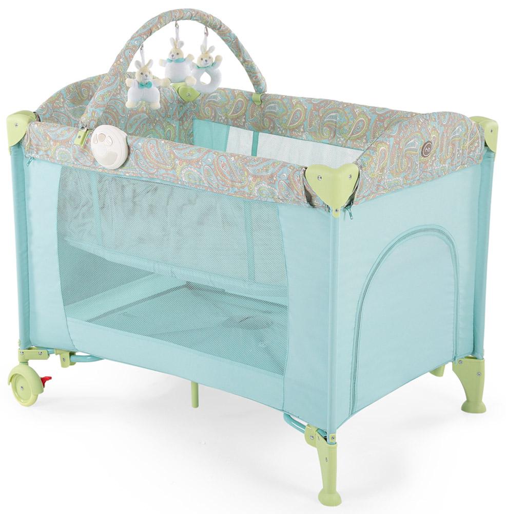 Happy Baby Кровать-манеж Lagoon V2 цвет синийCM000001326Кровать-манеж Happy Baby Lagoon V2 - это модель манежа 3 в 1: манеж-кроватка со вторым дном; шезлонг-качалка; манеж для игр.Новорожденным. На манеж быстро устанавливается второе дно при помощи застежки-молнии, благодаря чему, он превращается в кроватку, в которой малыша можно будет легко и с комфортом укачивать. Укачивание обеспечивают две съемные дуги по обеим сторонам манежа, поверхность которых защищена силиконовыми накладками для мягкого и тихого укачивания. Внимание малыша привлечет дуга с игрушками, которые можно легко снять и постирать, или заменить другими развивающими игрушками. Также в комплект входит шезлонг-качалка для новорожденного. Шезлонг при необходимости легко устанавливается на бортики манежа, и в данном положении его можно использовать как пеленальный столик.Шезлонг оснащен крышей для защиты малыша от солнечных лучей, трехточечными ремнями безопасности для надежной фиксации, а также съемным матрасиком с мягкими бортиками. В случае если малыша нужно укачать, шезлонг можно снять с манежа, разложить дуги для качания и расположить ребенка в удобном месте для засыпания.Удобный легкий шезлонг-качалка освободит руки и время маме, делая совместное пребывание обоих спокойным и комфортным.Для деток постарше манеж легко превратится в большое игровое пространство с лазом на молнии и карманом для игрушек с внешней стороны. Достаточно снять второе дно, убрать шезлонг и сложить дуги для укачивания на манеже. Наличие москитной сетки в комплекте дает возможность использовать манеж на свежем воздухе, вне периметра домашнего пространства.Благодаря легкому алюминиевому каркасу и двум колесам, манеж можно без труда перемещать по дому, при переездах легко складывается в удобную сумку для переноски.Максимальный вес ребенка для кровати-манежа: 14 кг. Максимальный вес ребенка для шезлонга: 9 кг.Уход. Текстильные материалы: протирайте влажной губкой с мыльным раствором, не пользуйтесь моющими средствами. Не выкручива