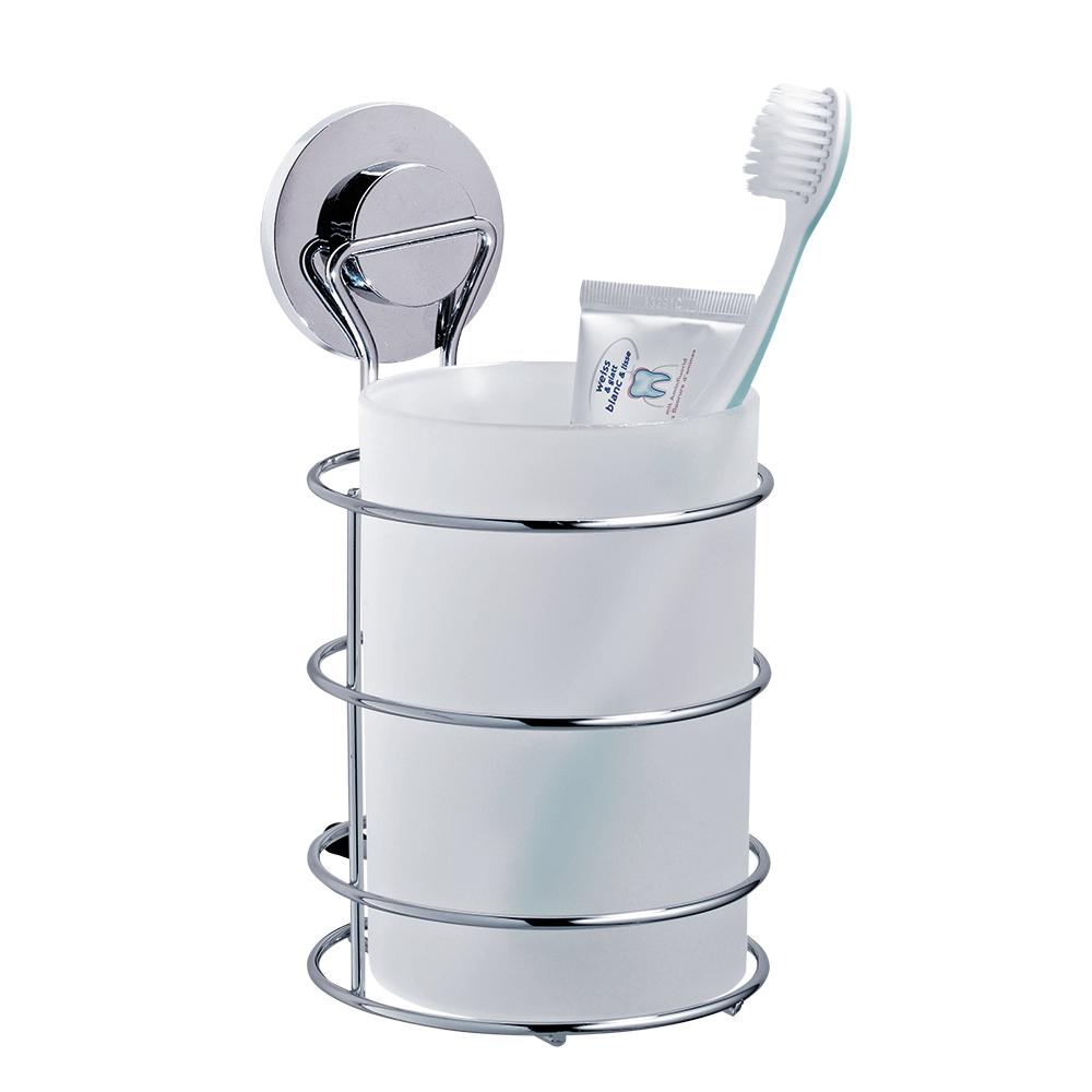 Стакан для ванной комнаты Tatkraft Wild Power, цвет: хром531-401Стакан для ванной комнаты Tatkraft Wild Power, изготовленный из матового пластика, крепится к стене при помощи стального хромированного держателя на вакуумной присоске. Оригинальная патентованная система вакуумной присоски доработана с учетом природных особенностей гигантского осьминога Дофлейна. Быстро и надежно устанавливается на любой воздухонепроницаемой поверхности: плитка, стекло, металл и др. В случае необходимости изделие легко можно перевесить, поддев присоску острым предметом.Стакан для ванной комнаты Tatkraft Wild Power прекрасно подойдет к интерьеру ванной комнаты.
