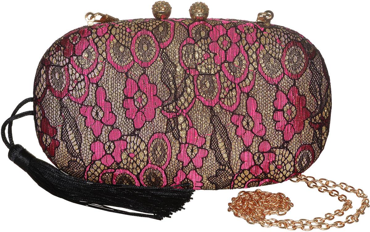 Клатч женский Модные истории, цвет: розовый, черный. 3/0239/11023008Стильный клатч Модные истории выполнен металла и текстиля. Изделие оформлено ажурным плетением с блестками.Клатч закрывается с помощью магнитного замка. Внутри изделие содержит одно отделение. Клатч оснащен съемным плечевым ремнем в виде тонкой цепочки. Сбоку модель дополнена текстильной кисточкой, которую при желании можно убрать внутрь.Оригинальный аксессуар позволит вам завершить образ и быть неотразимой.
