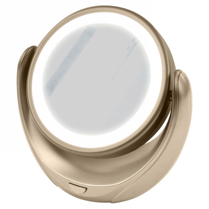 Marta MT-2653, Gold Pearl зеркало с подсветкой110700000Marta MT-2653 - стильное и элегантное настольное зеркало с подсветкой и пятикратным увеличением отражения одной из поверхностей. Идеально подходит для тщательного нанесения макияжа и ухода за кожей лица. Зеркало позволяет изменять угол наклона для достижения максимального удобства, а также имеет две зеркальные стороны, одна из которых обладает свойством пятикратного увеличения отражения, что особенно важно при кропотливой работе с участками лица, требующими наиболее тщательного внимания. Круговая подсветка по контуру зеркала Marta MT-2653 нормализует и выравнивает освещение, позволяя детально разглядеть все нюансы отражения. Для полноценной работы зеркала используются распространенные элементы питания типа АА на 1,5 В, одного комплекта которых хватит на длительный срок эксплуатации. Простота использования и очистки, функциональность, сопровождающаяся особым комфортом, делают настольное зеркало незаменимым аксессуаром для ухода за лицом и в домашних условиях, и в путешествии.