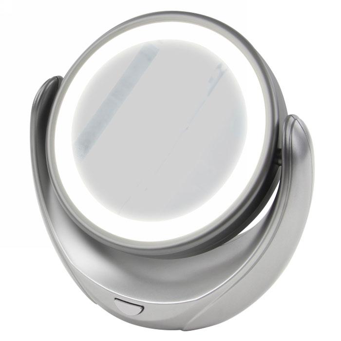 Marta MT-2653, Grey Pearl зеркало с подсветкойSZ 504Marta MT-2653 - стильное и элегантное настольное зеркало с подсветкой и пятикратным увеличением отражения одной из поверхностей. Идеально подходит для тщательного нанесения макияжа и ухода за кожей лица. Зеркало позволяет изменять угол наклона для достижения максимального удобства, а также имеет две зеркальные стороны, одна из которых обладает свойством пятикратного увеличения отражения, что особенно важно при кропотливой работе с участками лица, требующими наиболее тщательного внимания. Круговая подсветка по контуру зеркала Marta MT-2653 нормализует и выравнивает освещение, позволяя детально разглядеть все нюансы отражения. Для полноценной работы зеркала используются распространенные элементы питания типа АА на 1,5 В, одного комплекта которых хватит на длительный срок эксплуатации. Простота использования и очистки, функциональность, сопровождающаяся особым комфортом, делают настольное зеркало незаменимым аксессуаром для ухода за лицом и в домашних условиях, и в путешествии.