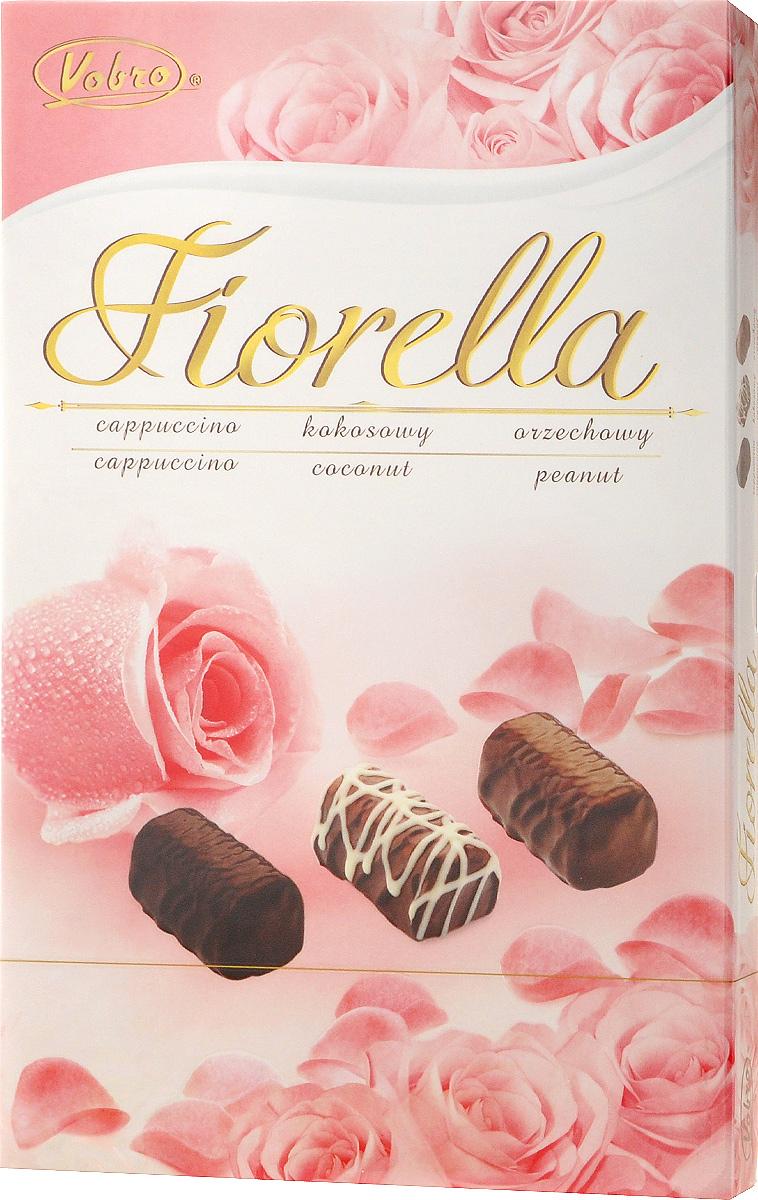 Vobro Fiorella набор шоколадных конфет, 140 г0120710Vobro Fiorella - набор шоколадных конфет с тремя вкусами. Под деликатным шоколадом скрыт вкус кокоса, ореха и капучино. Конфеты доступны в различных графических упаковках.