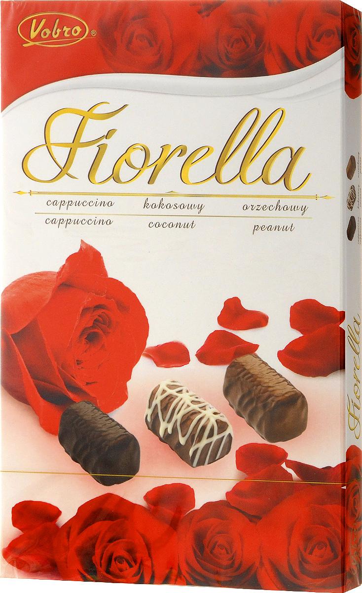 Vobro Fiorella набор шоколадных конфет, 140 г3433Vobro Fiorella - набор шоколадных конфет с тремя вкусами. Под деликатным шоколадом скрыт вкус кокоса, ореха и капучино. Конфеты доступны в различных графических упаковках.