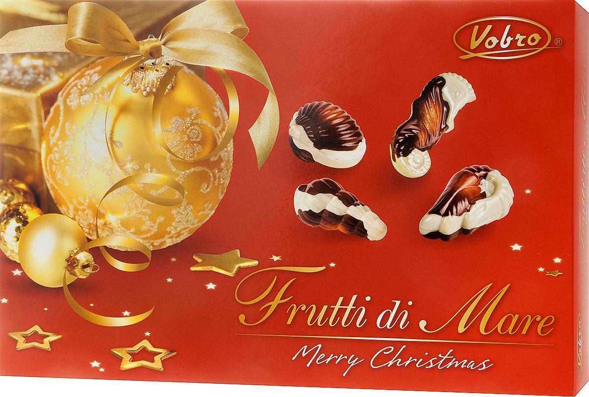 Vobro Frutti di Mare набор шоколадных конфет в виде морских ракушек, 350 г0120710Vobro Frutti di Mare - шоколадные конфеты из белого и молочного шоколада с кремовой начинкой с ореховым, молочным вкусом, а также вкусами какао и тоффи станут прекрасным дополнением к любому чаепитию и отличным подарком для друзей и близких.