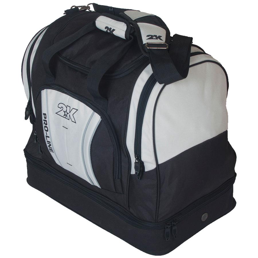 Сумка спортивная 2K Sport Tampa, цвет: черный, серый. 12812423008Спортивная сумка с двойным дном для обуви 2K Sport Tampa. Можно переносить в руке и на плече. Размер: 50х30х43 см. (ДхШхВ). Отстегивающийся ремень.