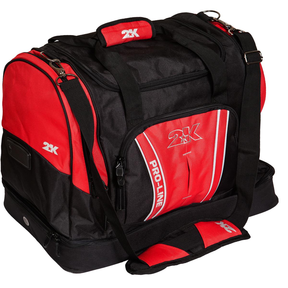 Сумка спортивная 2K Sport Tampa, цвет: черный, красный. 1281241125040Спортивная сумка с двойным дном для обуви 2K Sport Tampa. Можно переносить в руке и на плече. Размер: 50х30х43 см. (ДхШхВ). Отстегивающийся ремень.