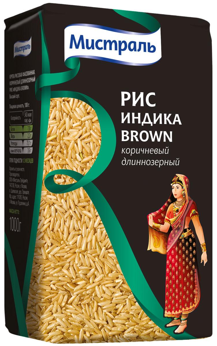 Мистраль Рис Индика Brown, 1 кг0120710Индика Brown - это рис Индика, подвергнутый бережной шлифовке, которая сохраняет оболочку и зародыш зерна, а также все питательные вещества и витамины. Отрубевая оболочка защищает зерна от чрезмерного разваривания и придает им характерный коричневатый оттенок и ореховый привкус. 1. Засыпьте рис в кастрюлю с водой в соотношении 1:2,52. Доведите до кипения, убавьте огонь и плотно закройте крышкой3. Варите на медленном огне 25-35 минут, пока рис не впитает в себя всю воду