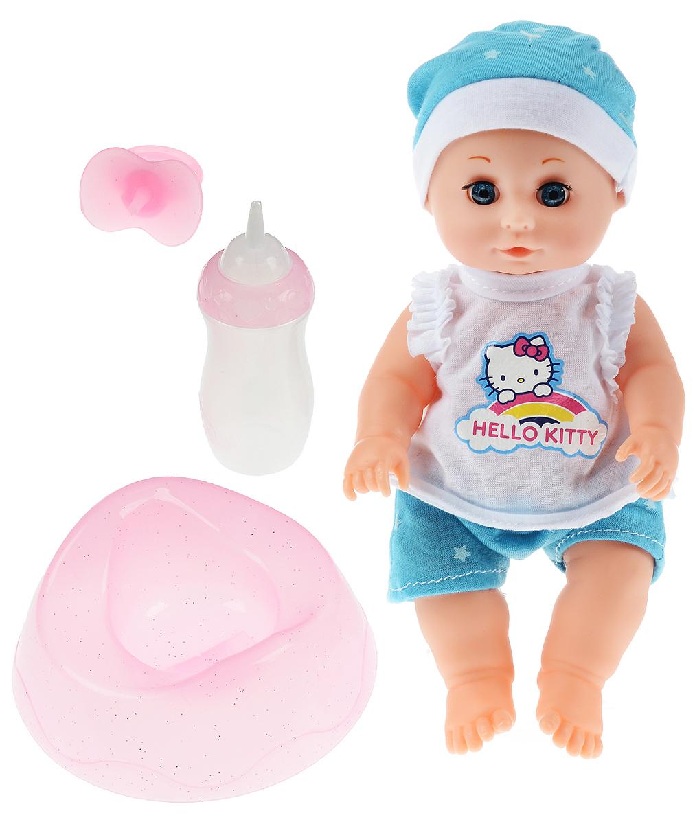 Карапуз Пупс Hello Kitty цвет одежды белый голубой куклы карапуз пупс карапуз 20см 3 функции пьет писает закрывает глазки в ванне с аксессуарами