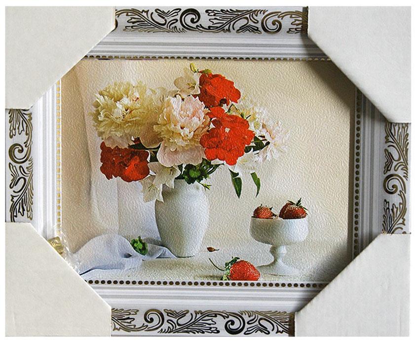 Картина в раме Proffi Home Натюрморт с клубникой и пионами, 15 х 18 смXXL4-024Картина Proffi Home поможет украсить интерьер. Картина оформлена в красивую деревянную рамку белого цвета с золотым декором. Фотопечать на бумажном постере с тиснением.Металлические петли, винты для подвешивания картины в комплекте.Размер картины: 15 х 18 см.
