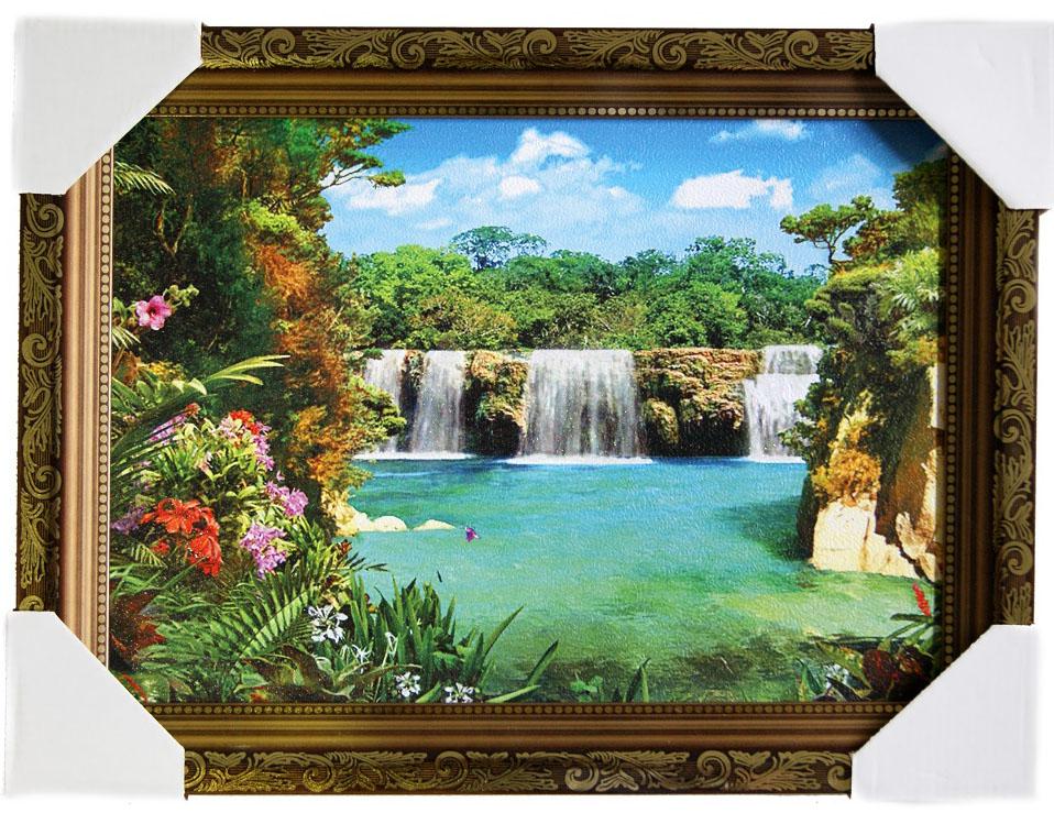 Картина в раме Proffi Home Тропический рай, 25 х 35 смXXL4-006Картина Proffi Home поможет украсить интерьер. Картина оформлена в красивую деревянную рамку коричневого цвета с золотым декором. Фотопечать на бумажном постере с тиснением.Металлические петли, винты для подвешивания картины в комплекте.Размер картины: 25 х 35 см.