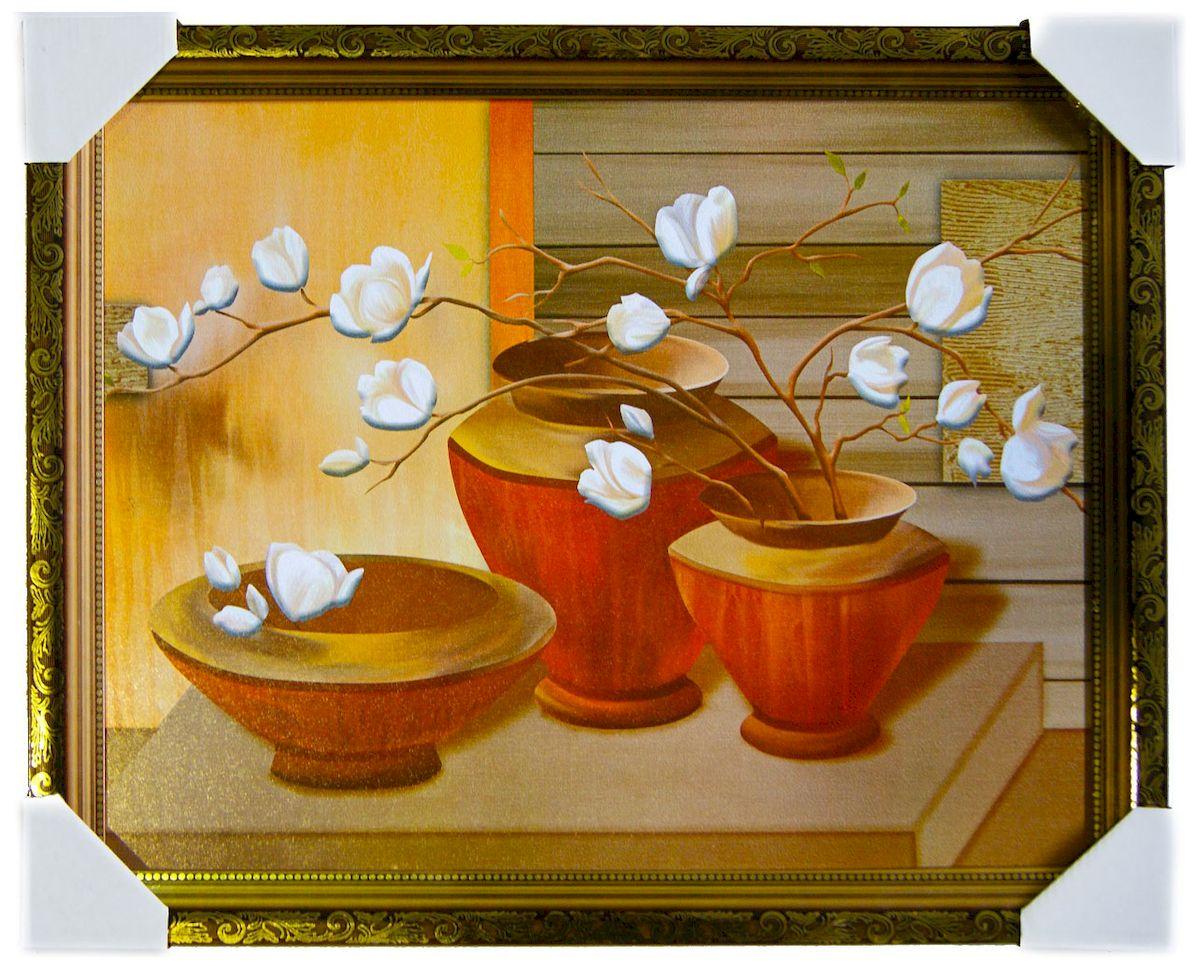 Картина в раме Proffi Home Восточный натюрморт, 40 х 50 см25051 7_желтыйКартина Proffi Home поможет украсить интерьер. Картина оформлена в красивую деревянную рамку белого цвета с золотым декором. Фотопечать на бумажном постере с тиснением.Металлические петли, винты для подвешивания картины в комплекте.Размер картины: 40 х 50 см.