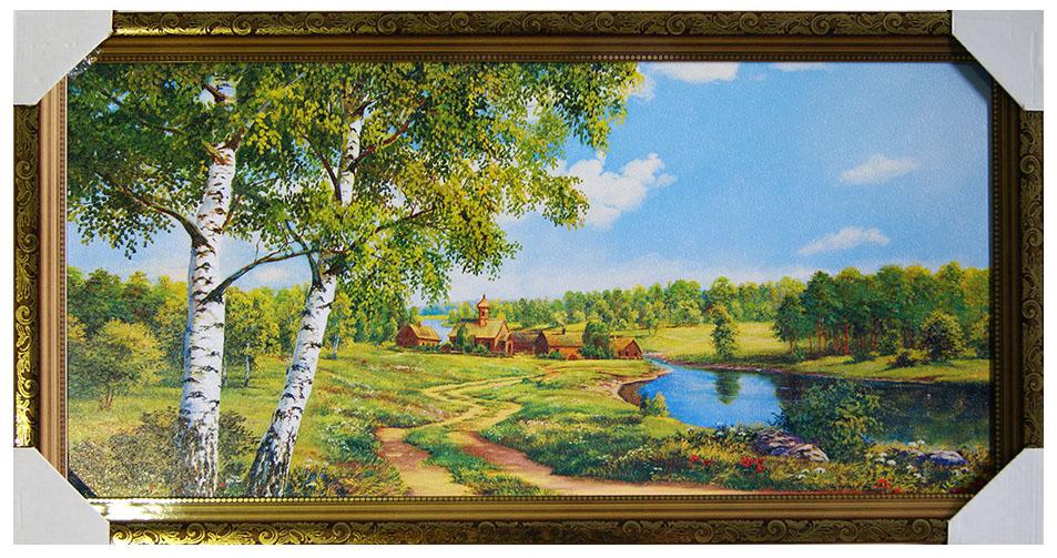 Картина в раме Proffi Home Сельский пейзаж с церковью, 33 х 70 см12723Материал: деревянный багет, мдф, фотопечать на бумажном постере с тиснением, лак. Упаковка: картонные уголки, п/э термоусадка. Набор для навески в п/э пакете зип-лок металлические петли и винты. Коричневая рама с золотым декором. Вес 2,5кг