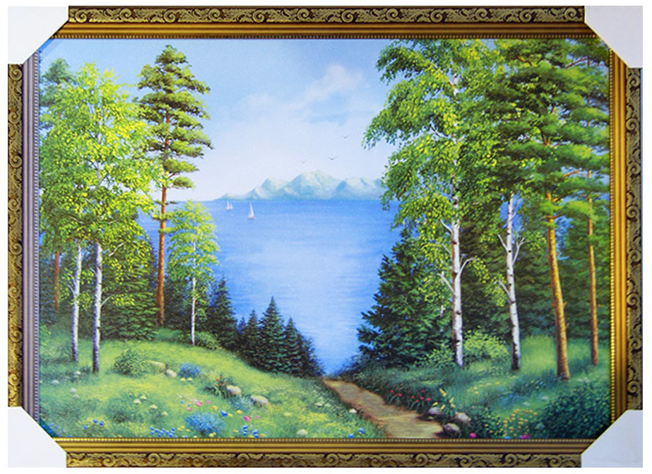 Картина в раме Proffi Home Лесное озеро, 50 х 70 см12723Картина Proffi Home поможет украсить интерьер. Картина оформлена в красивую деревянную рамку коричневого цвета с золотым декором. Фотопечать на бумажном постере с тиснением.Металлические петли, винты для подвешивания картины в комплекте.Размер картины: 50 х 70 см.