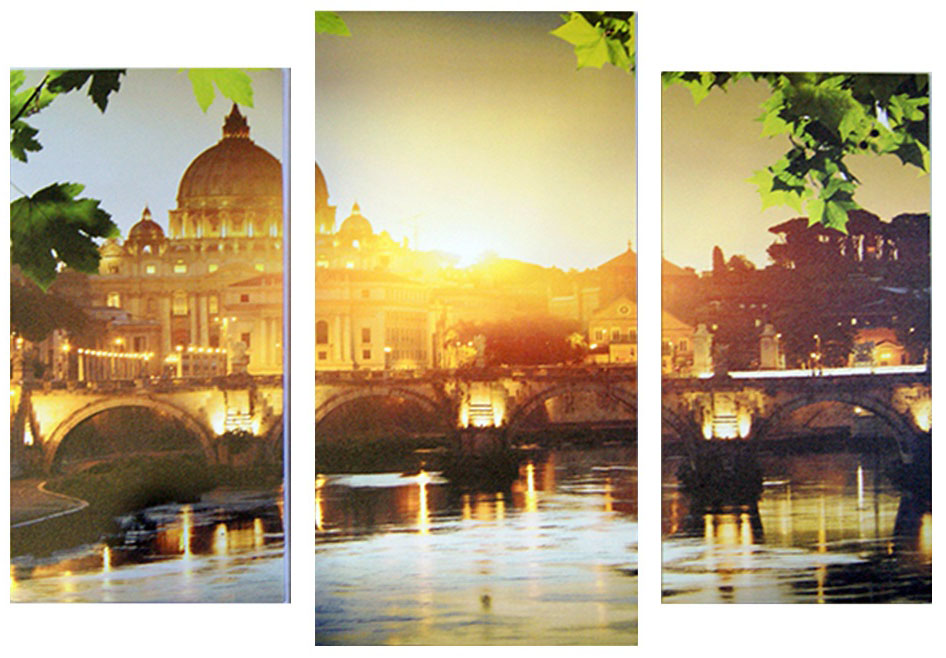 Картина модульная Proffi Home Утро в Венеции. Триптих, 60 х 100 смXXL4-001Композиция из трех частей. Материал: подрамник МДФ, фотопечать на текстурном холсте, УФ-лак. Упаковка: картонная подложка, п/э термоусадка. Вес 2,10кг