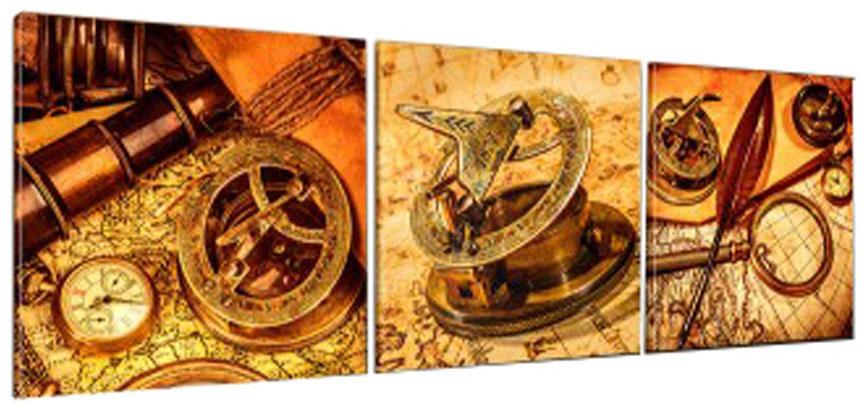 Картина модульная Proffi Home Путешествие во времени. Триптих, 50 х 150 см94672КомпозицияProffi Home Путешествие во времени. Триптих из трех частей размером 50 х 50 см.Материал: подрамник МДФ, фотопечать на текстурном холсте, УФ-лак. Упаковка: картонная подложка, п/э термоусадка.