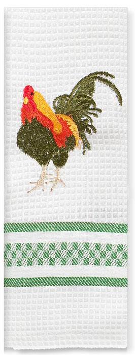 Полотенце кухонное Soavita Петухи декоративные, цвет: белый, зеленый, 40 х 60 см. 895161501001183Перед использованием постирать при температуре не выше 40 градусов