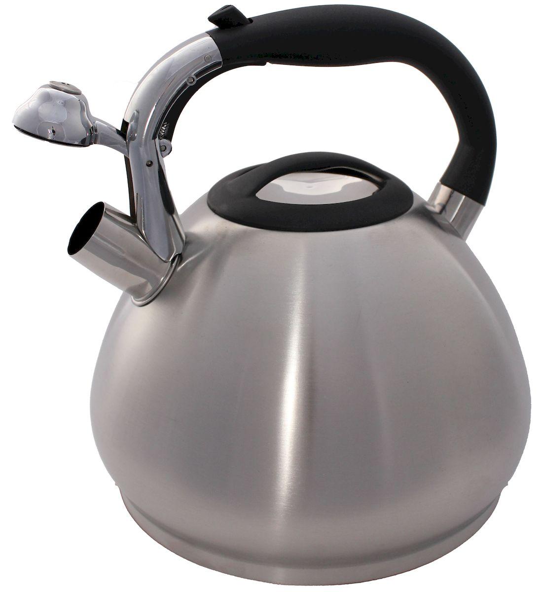 Чайник Hoffmann, со свистком, цвет: стальной, черный, 4,5 л54 009312Чайник Hoffmann выполнен из высококачественной нержавеющей стали, что делает его весьма гигиеничным и устойчивым к износу при длительном использовании. Носик чайника оснащен насадкой-свистком, что позволит вам контролировать процесс подогрева или кипячения воды. Фиксированная ручка, изготовленная из бакелита, оснащена механизмом открывания носика. Эстетичный и функциональный чайник будет оригинально смотреться в любом интерьере.Подходит для всех типов плит, включая индукционные. Можно мыть в посудомоечной машине.