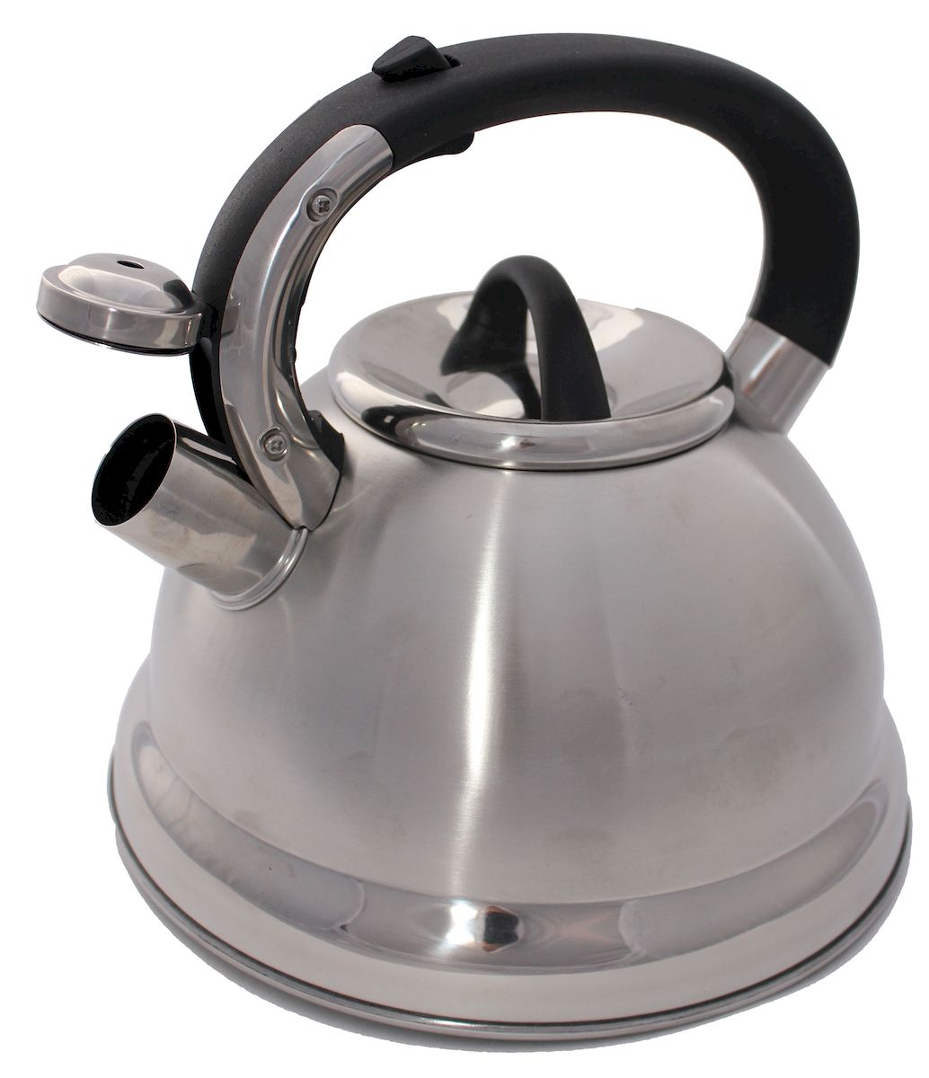 Чайник Hoffmann, со свистком, цвет: стальной, черный, 4,8 лW11000320Чайник Hoffmann выполнен из высококачественной нержавеющей стали, что делает его весьма гигиеничным и устойчивым к износу при длительном использовании. Носик чайника оснащен насадкой-свистком, что позволит вам контролировать процесс подогрева или кипячения воды. Фиксированная ручка, изготовленная из бакелита, оснащена механизмом открывания носика. Эстетичный и функциональный чайник будет оригинально смотреться в любом интерьере.Подходит для всех типов плит, включая индукционные. Можно мыть в посудомоечной машине.