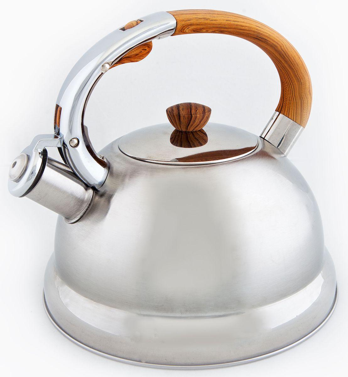 Чайник Hoffmann, со свистком, 3 л. НМ 5516391602Чайник Hoffmann выполнен из высококачественной нержавеющей стали, что делает его весьма гигиеничным и устойчивым к износу при длительном использовании. Носик чайника оснащен насадкой-свистком, что позволит вам контролировать процесс подогрева или кипячения воды. Фиксированная ручка, изготовленная из пластика, оснащена механизмом открывания носика. Эстетичный и функциональный чайник будет оригинально смотреться в любом интерьере.