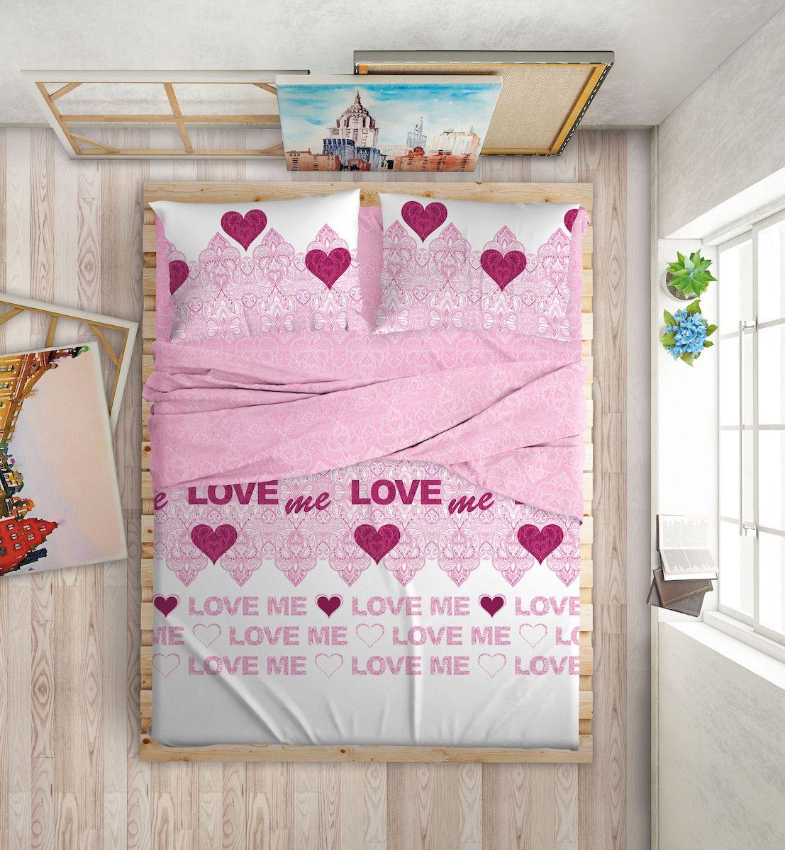 Комплект белья Love Me, 2-спальный, наволочки 50х70, 70х70, цвет: белый, розовый391602Международный бренд для молодых, современных, стильных. Love Me - бренд качественного постельного белья, для молодых людей, создающий ощущение комфорта, защищенности и уюта. При этом - модный, современный, стильный.