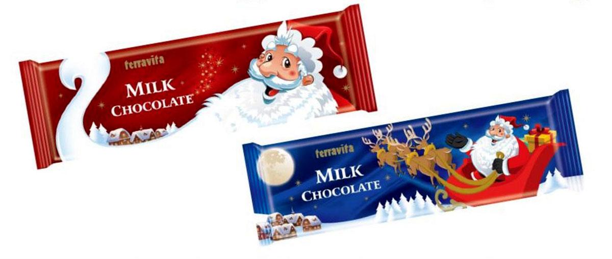 Terravita Шоколад молочный новогодний Дед Мороз, 250 г0120710Идеальный баланс ингредиентов в шоколаде Terravita Milk chocolate делает его таким сливочно-вкусным, нежным и ароматным, что полностью оправдывает название. Terravita Milk chocolate - это превосходный молочный шоколад. Отличное качество шоколада подарит Вам незабываемые ощущение вкуса и аромата. Шоколад Terravita исключительно вкусный способ получить заряд энергии. Только один кусочек обеспечивает массу энергии и повышает настроение. Шоколад утолит голод и послужит хорошим поводом для чаепития с Вашими близкими.
