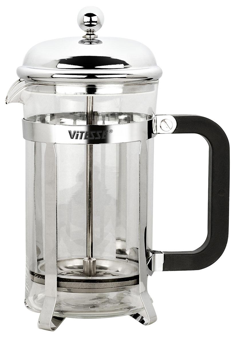 Френч-пресс Vitesse, с мерной ложкой, 600 мл. VS-8334VS-8334Френч-пресс Vitesse поможет вам в приготовлении ароматного кофе или чая.Колба выполнена из термостойкого стекла. Внешний корпус из нержавеющей стали с зеркальной полировкойдолговечен, прочен и устойчив к деформации и образованию царапин. Удобная ручка изготовлена из бакелита.Уникальный дизайн полностью соответствует последним модным тенденциям в создании предметов бытовой техники. В комплект входит мерная ложка. Диаметр фильтра: 8 см.