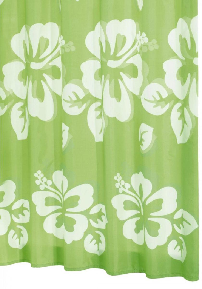 Штора для ванной комнаты Ridder Flowerpower, цвет: зеленый, 180 х 200 см. 4235542355Штора для ванной комнаты Ridder Flowerpower, изготовленная из текстиля с антигрибковым и антистатическим покрытием, отлично дополнит любой интерьер ванной комнаты. Нижний кант утяжелен каучуковой лентой. Машинная стирка.Глажка при низкой температуре.