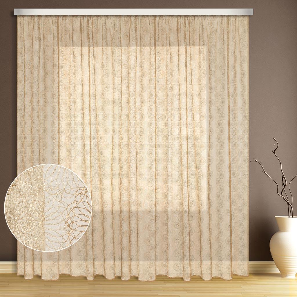 Тюль ТД Текстиль Цветок, цвет: экрю, высота 270 см1004900000360Эта тюль выполнена на сетке с полным заполнением вышивкой, может использоваться в интерьере без дополнительных штор