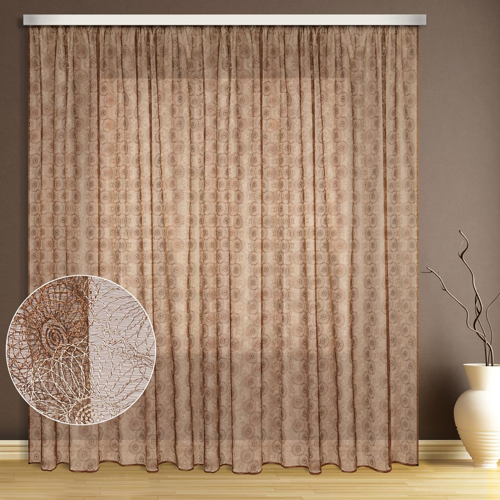 Тюль ТД Текстиль Цветок, цвет: бежевый, высота 270 см1110109Эта тюль выполнена на сетке с полным заполнением вышивкой, может использоваться в интерьере без дополнительных штор