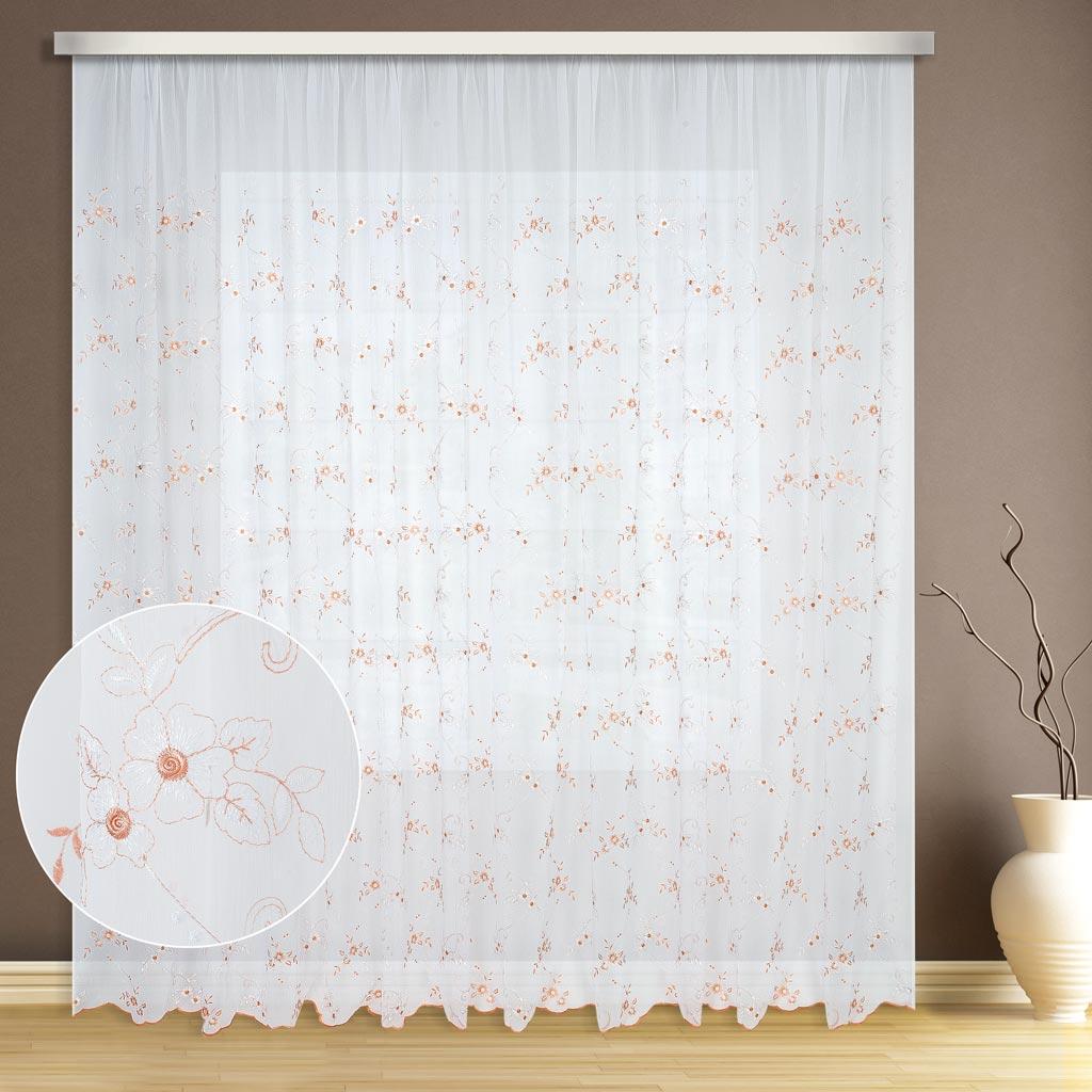 Тюль ТД Текстиль Кристалон цветок, цвет: бежевый, высота 260 см1004900000360Персиковые цветочки вышитые на кристалоне уютно впишутся в интерьер.