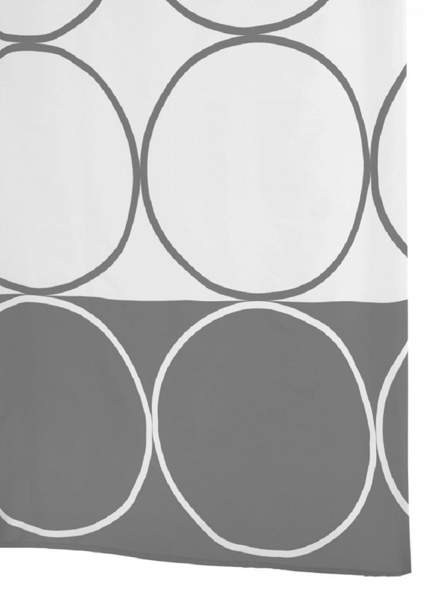 Штора для ванной комнаты Ridder Circle, цвет: серый, серебряный, 180 х 200 смNLED-441-7W-SШтора для ванной комнаты Ridder Circle, изготовленная из полиэстера с антигрибковым и антистатическим покрытием, отлично дополнит любой интерьер ванной комнаты. Нижний кант утяжелен каучуковой лентой.