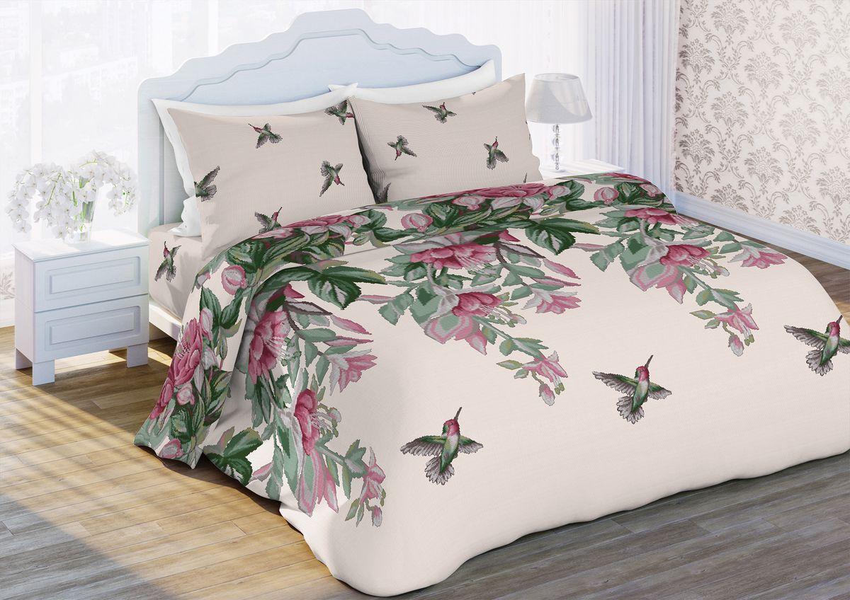 Комплект белья Любимый дом Колибри, 1,5-спальный, наволочки 70x7089875Комплект постельного белья коллекции Любимый дом выполнен из высококачественной ткани - из 100% хлопка. Такое белье абсолютно натуральное, гипоаллергенное, соответствует строжайшим экологическим нормам безопасности, комфортное, дышащее, не нарушает естественные процессы терморегуляции, прочное, не линяет, не деформируется и не теряет своих красок даже после многочисленных стирок, а также отличается хорошей износостойкостью.