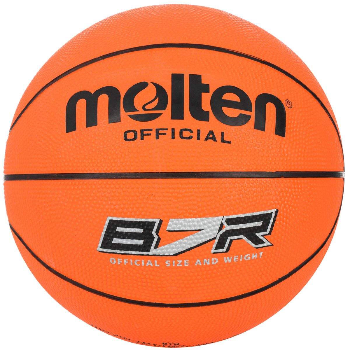 Мяч баскетбольный Molten PROfessional. Размер 7. B7RB7RБаскетбольный мяч Molten Professional утверждён и одобрен FIBA. Мяч выполнен из высококачественной резины и состоит из 8 проклеенных между собой панелей. Внутренняя камера выполнена из бутила, и имеет нейлоновую обмотку.Мяч имеет официальные технические характеристики, соответствующие матчевым требованиям.