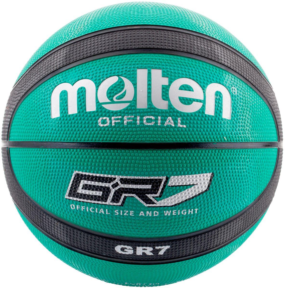 Мяч баскетбольный Molten. Размер 7. BGR7-GKBGR7-GKБаскетбольный мяч Molten предназначен для игр на площадках. Выполнен из износостойкой резины. Имеет нейлоновую обмотку камеры.У мяча клееный тип соединения панелей.