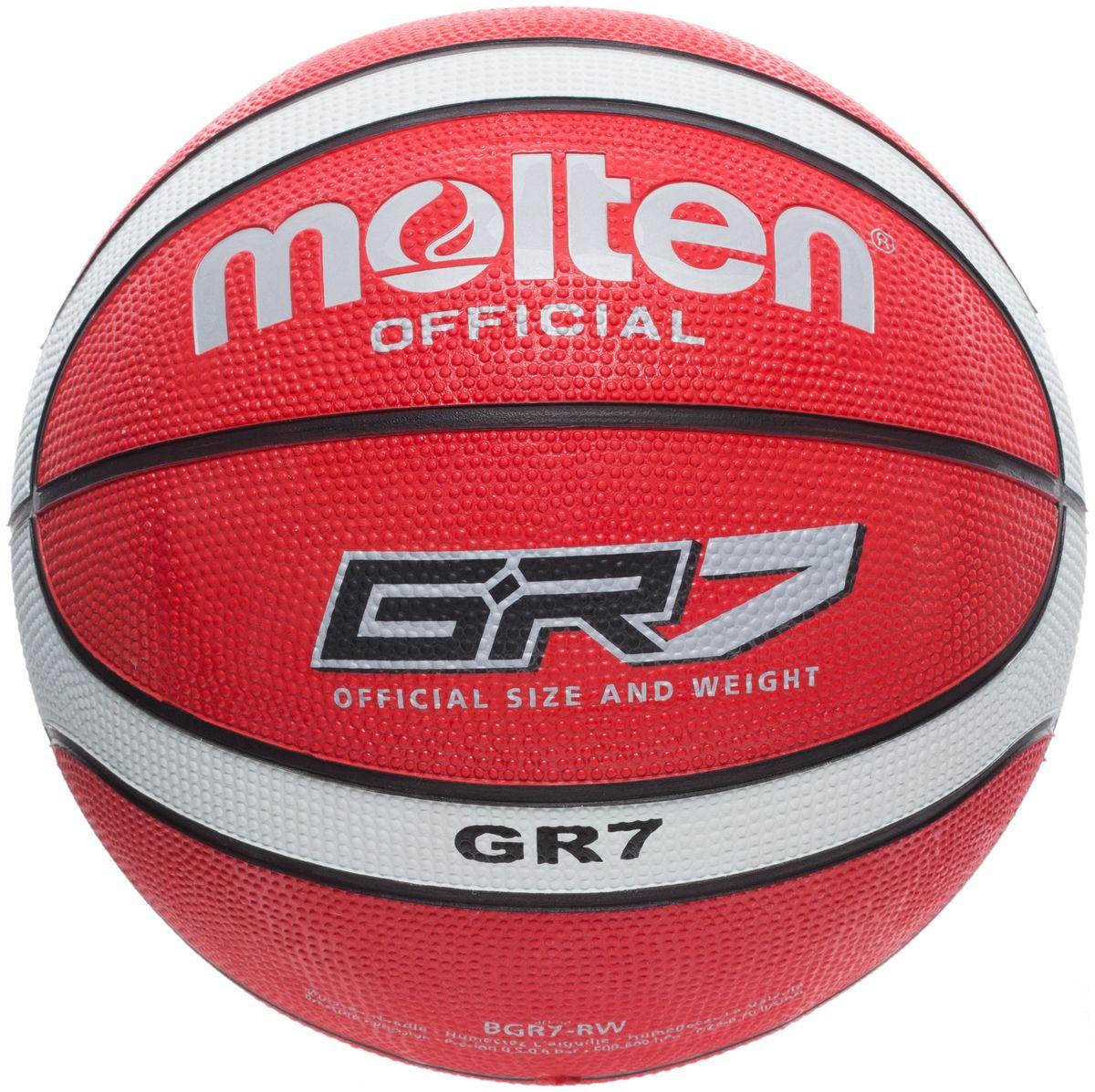 Мяч баскетбольный Molten. Размер 7. BGR7-RWBGR7-RWБаскетбольный мяч Molten предназначен для игр в зале и на улице. Выполнен из износостойкой резины. Имеет нейлоновую обмотку камеры.У мяча клееный тип соединения панелей.