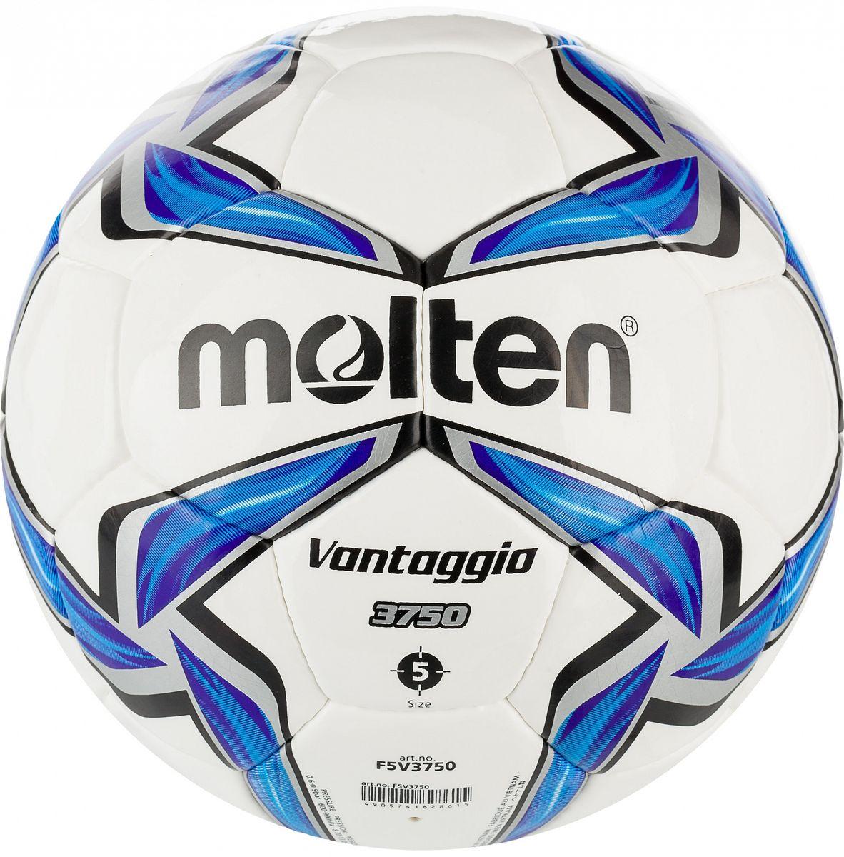 Мяч футбольный Molten. Размер 5. F5V3750200170Футбольный мяч для клубных тренировок и соревнований:изготовлен по технологии Vantaggio - многослойная конструкция улучшает форму мяча; покрышка из синтетической кожи (полиуретан); ручное шитье; инспектирован FIFA.